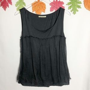 velvet | Grey Tank w/ Sheer Layer M
